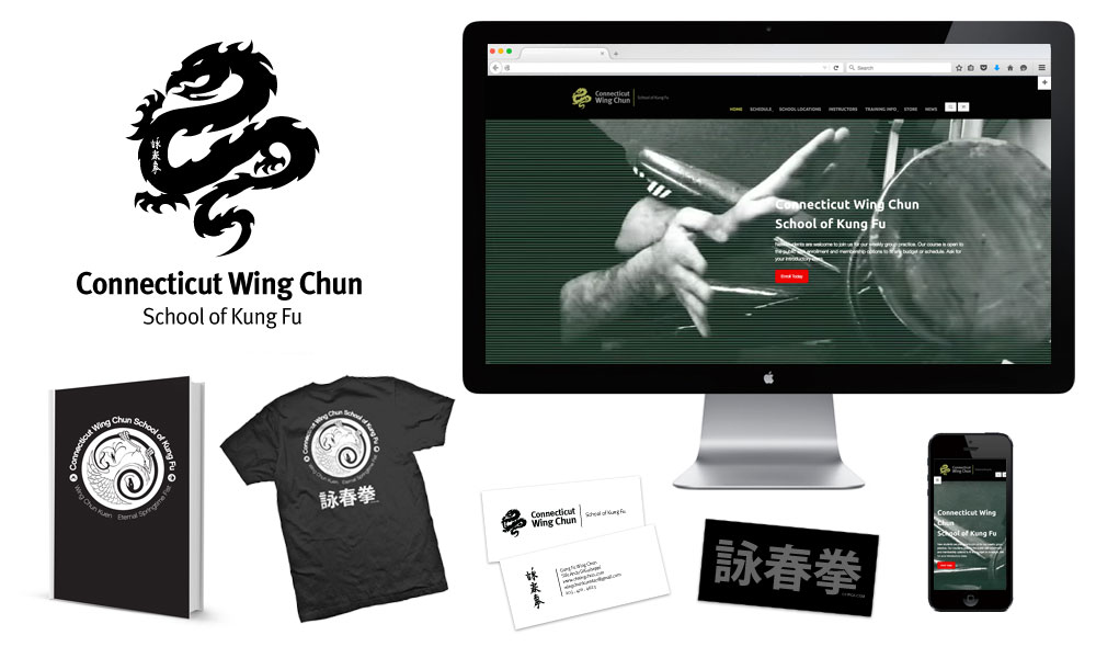 wing chun kung fu school classes on martial arts branding website stationary logo new milford ct waterbury ct