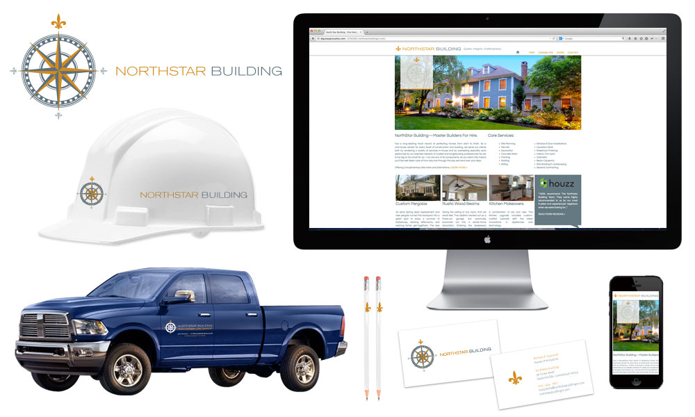 construction company logo design branding stationary website marketing truck decals