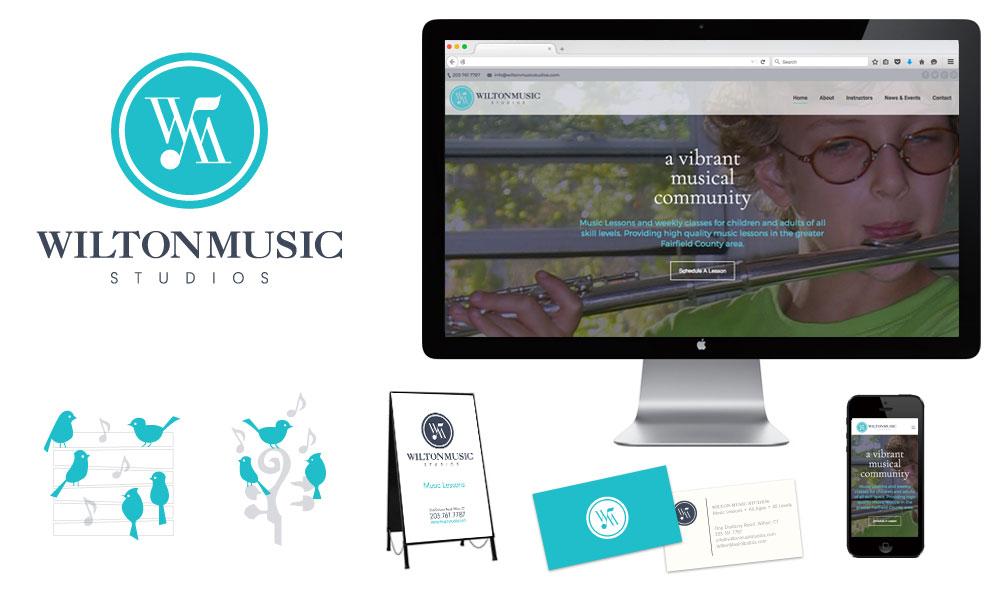 wilton music studios logo design custom business cards brand signage website design mobile website graphic illustrations