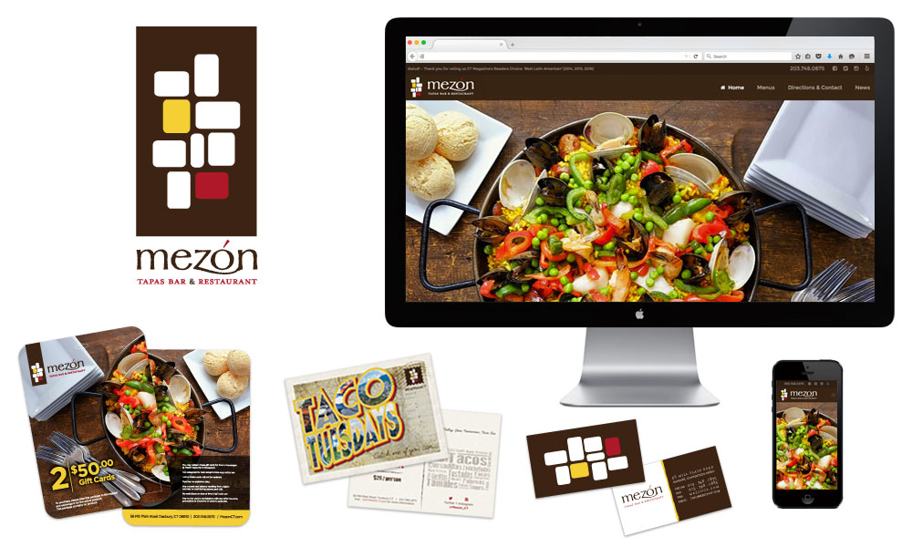 restaurant branding mezon tapas bar logo website menus stationary advertisements marketing pieces danbury ct